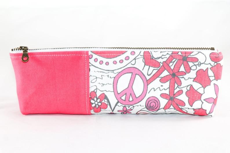 pencil bag canvas zippered pencil case pencil pouch for teachers Pencil case for girls hot pink canvas pencil case school pencil pouch