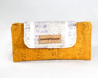 Mustard yellow cork and library cards women's thin wallet