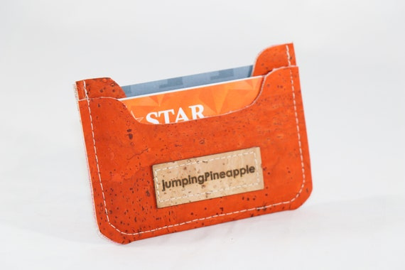 Visitenkarten Etui Für Frauen Kork Leder Geldbörse ökologisch Geldbörsen Orange Schlanke Brieftasche Frauen Visitenkarten Etui Minimalistischen