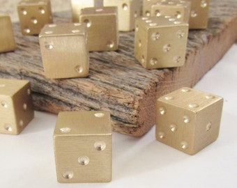 Large Brass Dice Six Sided Dice Set Custom Dice Handmade Dice Solid Brass Dice for Game Room Casino Dice Gambler Decor Mancave Gambling Die