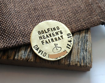 Golfing Heaven's Fairway Christmas Golf Gift Bereavement Gift Friend Grandpa Memorial Gift In Loving Memory of Dad Golf Ballmarker Golfer