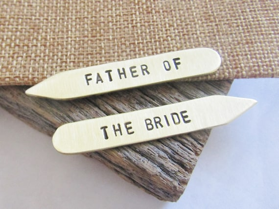 Custom Collar Stays for Him Best Selling Wedding Gift Father of the Bride Set of 2 Wedding Favors Wedding Accessories Engraved for Dad Bride