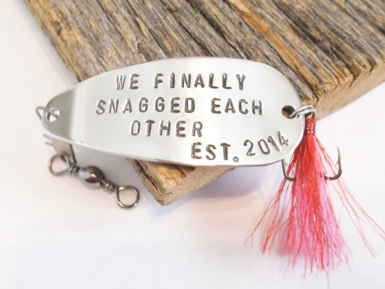 Custom Fishing Lure Anniversary Gift for Husband Fishing Hook Personalized  Spinner Spoon Bait We Finally Snagged Each Other Established Gift