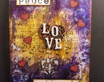 Mixed Media Canvas - Love, Peace and Gratitude