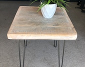 White distressed reclaimed wood small side table metal hairpin legs