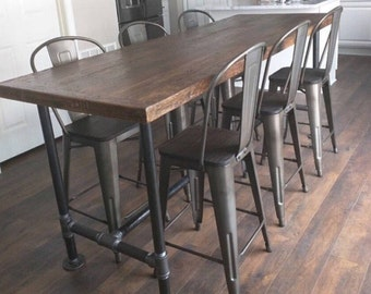 Dining Table Kitchen Island Rustic,reclaimed Wood, Industrial Metal Pipe  Legs