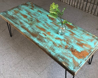 Turquoise reclaimed wood coffee table