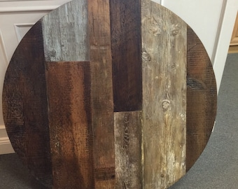 Round dining table top, reclaimed wood patterned table ,multi wood variety, multi color,mixed widths, ORDER BASE SEPARATELY