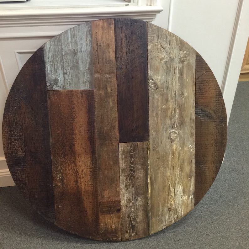 Round Dining Table Top Reclaimed Wood Patterned Table Multi Etsy
