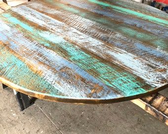 Aqua Teal blue - Rustic Reclaimed Wood -round dining table top-coffee table top- Order table legs base separately