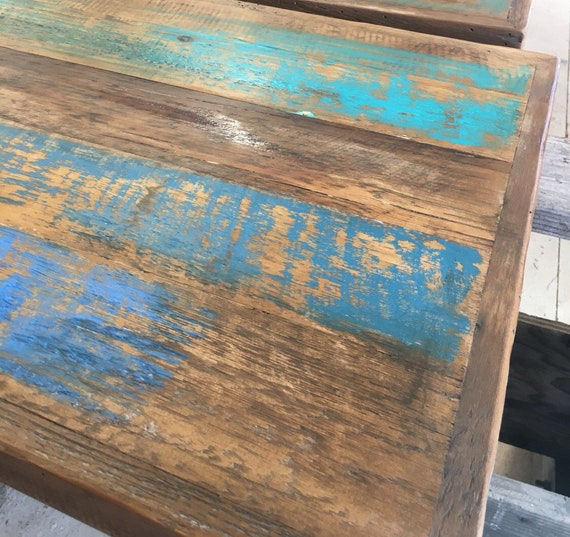 Pub Table Topreclaimed Wood Dining Table Teal Aqua Etsy