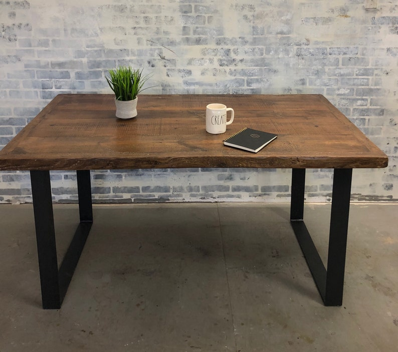 Reclaimed Wood Desk Table Authentic Saw Marks Raw Steel Black Modern Metal Legs