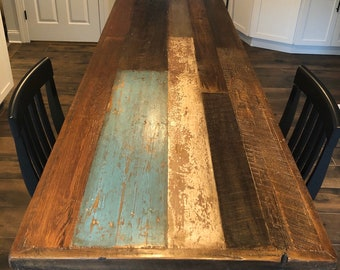 Dining table wood color variety table with steel pipe legs Custom for RO