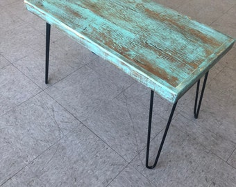 Rectangle wood turquoise coffee table