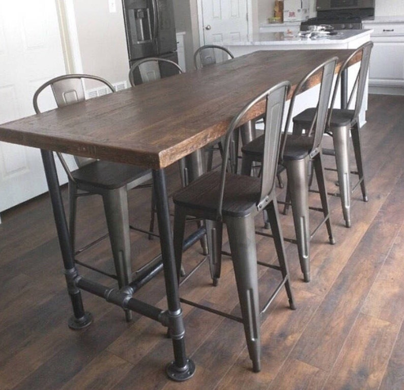 Dining Table Kitchen Island Rustic Reclaimed Wood Industrial Metal Pipe Legs