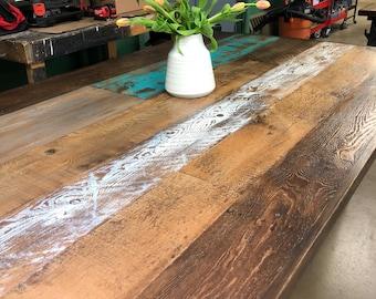 Wood dining table - steel pipe legs- reclaimed painted wood table