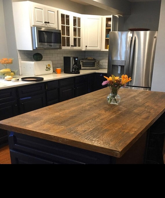 Custom Size Reclaimed Wood Kitchen Island Dining Table Top Etsy