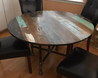 Round dining table top - multi wood color variety - reclaimed pine and fir wood