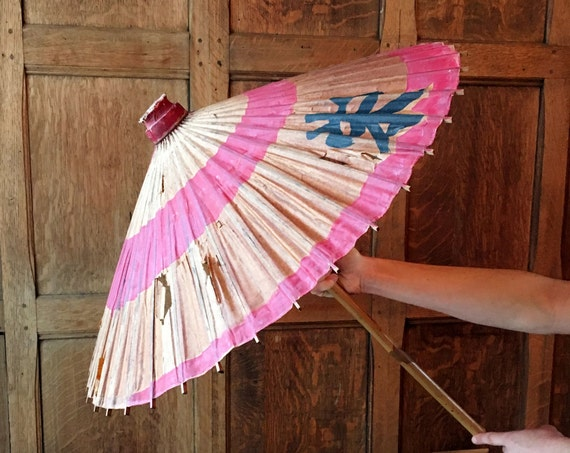 Vintage Paper Parasol, Paper Umbrella, Vintage Parasol Umbrella, Wedding Parasol Decor