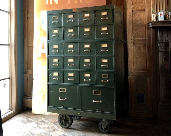 Vintage Card File, Metal Card Catalog, Rolling File Cabinet, Large Storage Cabinet, Vintage Drawer Unit With Casters