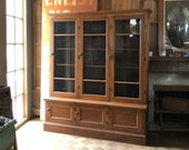 Antique School House Cabinet, Farmhouse Cabinet, Large Glass Door Cabinet, Vintage Bookcase, Oak Step Back Cupboard