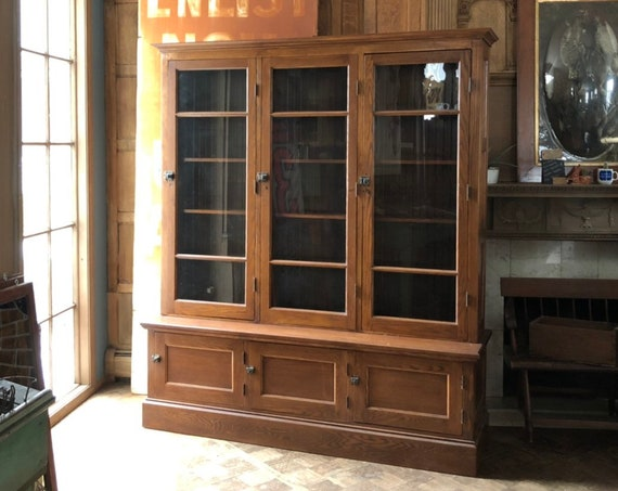 Antique School House Cabinet, Farmhouse Cabinet, Large Glass Door Cabinet, Vintage Bookcase, Oak Step Back Cupboard