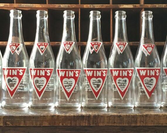 Vintage Wins Soda Bottles, Wins Beverage Company, Milwaukee Wisconsin, Vintage Soda Bottle