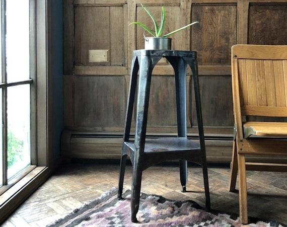 Vintage Metal Side Table, Machine Shop Stand, Industrial Metal End Table, Industrial Plant Stand