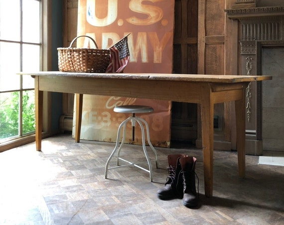 7 Foot Antique Farmhouse Table With Mustard Grain Paint, Primitive Farmhouse Furniture, Modern Rustic Desk