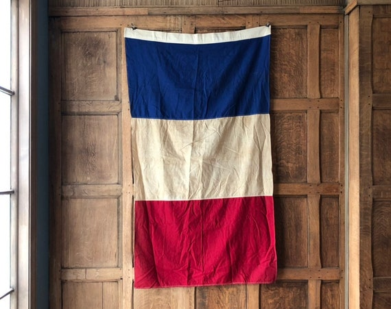 Antique French Flag, Authentic Vintage French Flag, Flag of France, Valley Forge Flag CO, Red White and Blue Flag, WWI Flag, WWII Flag