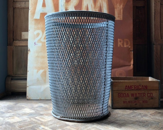 LARGE Industrial Trash Can, Milwaukee County Stadium, Baseball Park Trash Can, Expanded Metal Garbage Can, Large Metal Waste Basket