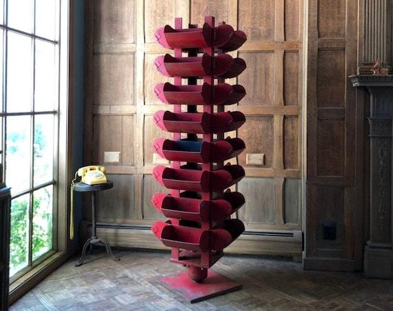 Large Vintage Rotating Parts Bin, Revolving Display, Large Red Metal Parts Bin, Industrial Storage