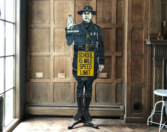 Antique School Safety Sign, Police Officer School Speed Limit Sign, Painted Folk Art Sign, Industrial Automotive Decor