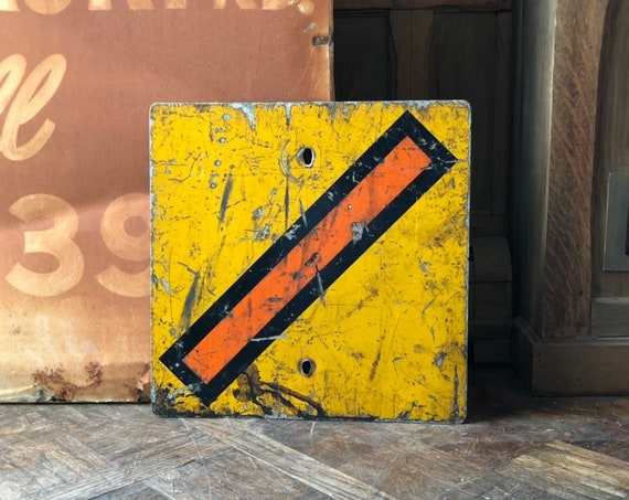 Vintage Road Sign, Traffic Safety Sign, Yellow Warning Caution Sign, Industrial Wall Decor