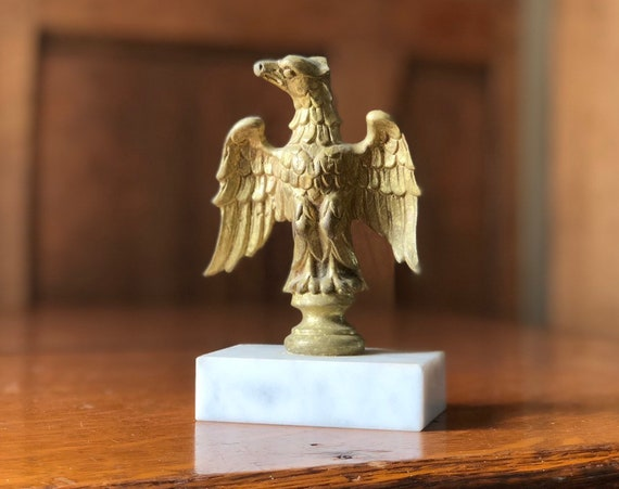 Antique Eagle Flag Pole Topper, Brass Eagle Statue, American Eagle Figurine, Americana Decor, Industrial Office