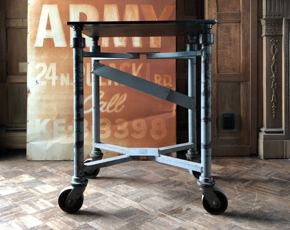 Antique Adjustable Printer's Table, Industrial Die Cart Table, Antique Turtle Table, Industrial Kitchen Island On Wheels, Bar Cart