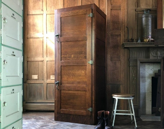 RESERVED - Antique Wood Locker, Large Oak Wardrobe, Mudroom Lockers, Entryway Organizer, Laundry Room Organization Storage