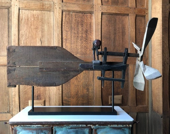 Antique Wood Whirligig, Primitive Whirligig Man Pumping Water, Vintage Whirligig, Whirligig Wing Spinner