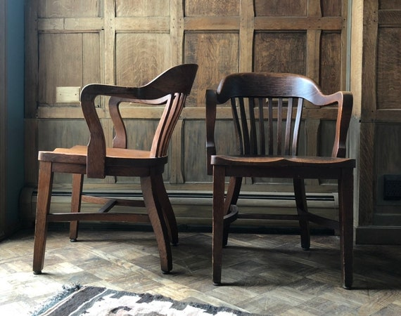 PAIR of Oak Desk Chairs, Vintage Bankers Chair, Antique Oak Library Chairs, Pair of Arm Chairs
