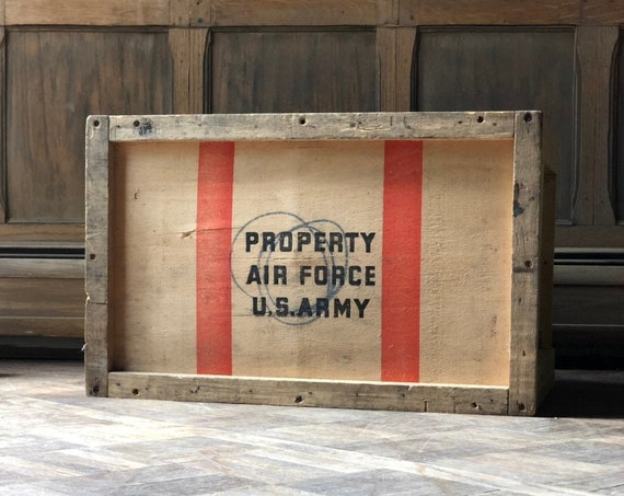 Vintage Wood Air Force U.S. Army Crate, US Air Force Crate, US Army Crate, Old Shipping Crate, Industrial Storage Decor