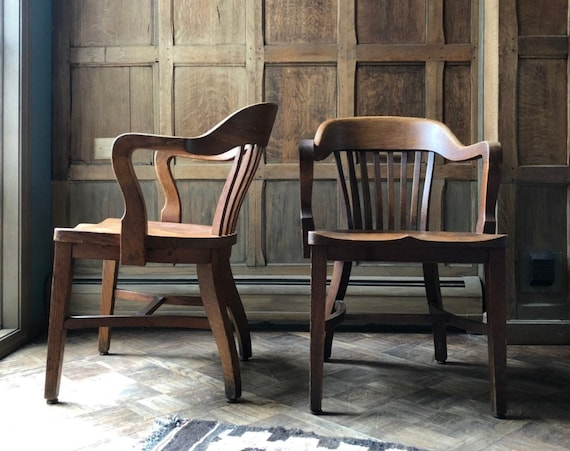 PAIR of Oak Library Chairs, Vintage Bankers Chair, Antique Oak Desk Chair, Pair of Chairs