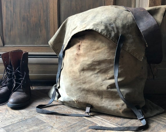 Antique Rucksack, Canvas and Leather Backback, Loggers Backpack