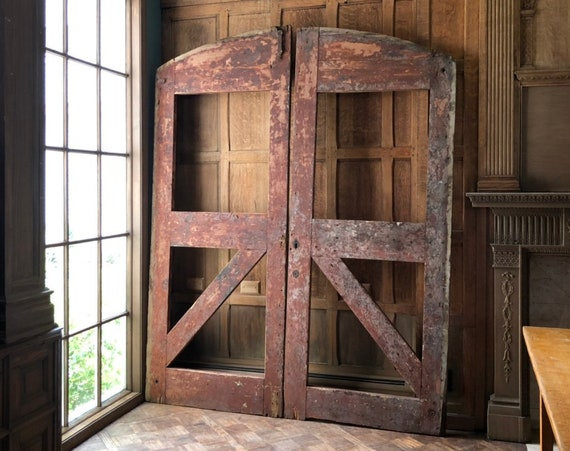 LARGE Antique Barn Doors, Pair of Arched Barn Doors, Industrial Doors, Architectural Salvage Doors, Large Wood Gates