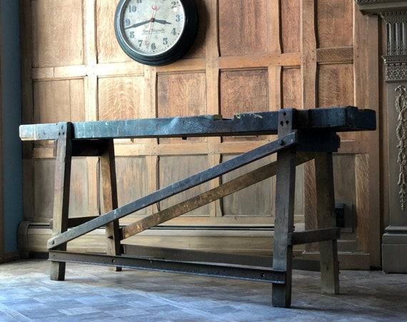 Antique Workbench Console Table, Industrial Workbench Table, Industrial Sofa Table, Distressed Wood Working Workbench Table