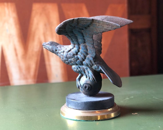 Antique Eagle Finial Statue, WWI Era Cast Iron Eagle, American Eagle Statue, Americana Decor, Industrial Office