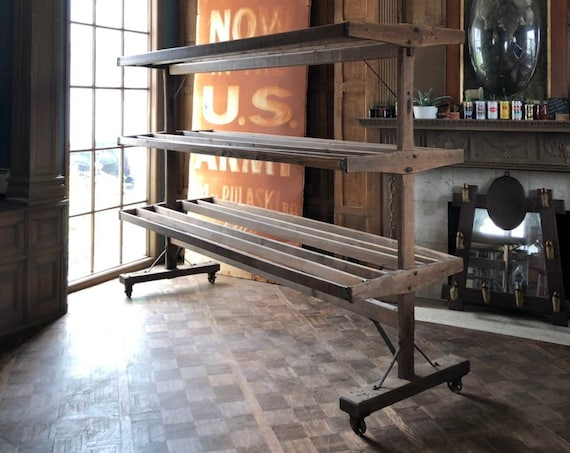 LARGE Antique Drying Rack, Wood Retail Display, Oversized Garment Rack, Retail Fixture, Large Store Display, Retail Shelving
