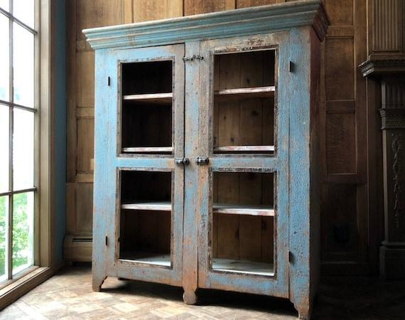 Primitive Farmhouse Cabinet, Chippy Antique Cupboard, Primitive Wood Hutch, Antique Pie Safe Cabinet, Rustic Storage Cabinet