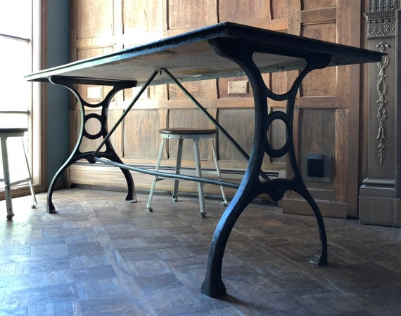 Antique Steel and Brass Cartographers Desk, Cast Iron Work Table, Antique Industrial Desk, Industrial Dining Table