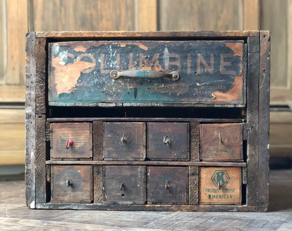 Antique Cheese Box Cabinet, Countertop Organizer, Jewelry Storage, Workbench Organizer