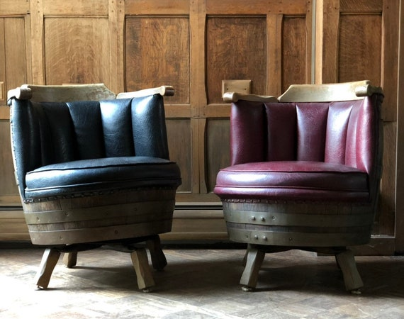 Vintage Barrel Chairs, Barrel Club Chairs, A Pair, Vinyl Upholstered Barrel Chairs